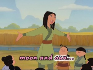 "Professor Mulan schools young Chinese girls. ""Lesson Number One"": celestial bodies."
