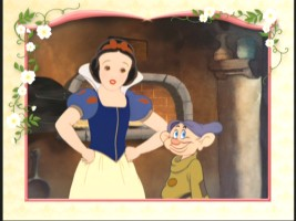 "Snow White and Dopey together in ""The Dinner Dance."""