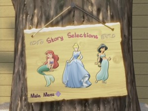 Outside in the yard, select the princess of your choosing for some mild fun with recycled animation.