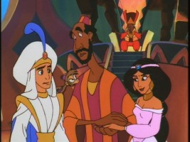 Aladdin and Jasmine try to keep the King Mamoud (and viewers) at least mildly entertained.