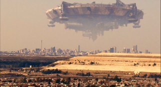 "A massive alien spacecraft hangs above Johannesburg, South Africa in the hit 2009 film ""District 9."""