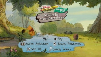 "The animated 16x9 ""Wonderful Word Adventure"" main menu"