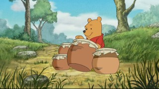Winnie breaks it down Pooh-style on the honey drums.