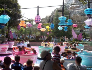 One of the spinning teacups of the Mad Tea Party has gone gold for Disneyland's 50th.