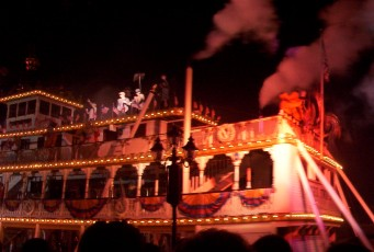 "Disney characters, from ""Mary Poppins"" chimney sweeps to Buzz and Woody, appear aboard the Sailing Ship Columbia at the end of ""Fantasmic!"""