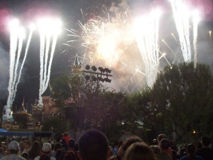 "Dazzling fireworks lit the sky each night as part of Disneyland's spectacular show ""Remember...Dreams Come True."""