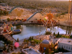 An aerial look at the Disney park, amusement-style.