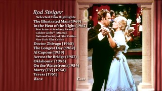 Not only does this page display Rod Steiger's standout credits from the 1950s and 1960s, but its selected microphone icon also plays for you an audio report from the film's premiere.
