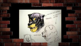 Bruce McNally's tough dog character sketches are the first of ten images in the DVD's Original Movie Concept Art gallery video.