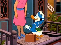 "With the aid of his newfound voice, Donald tries to sell hairbrushes door to door in ""Donald's Dream Voice."""