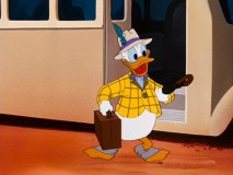 "Donald is looking dapper when he goes west to mount a horse in ""Dude Duck."""