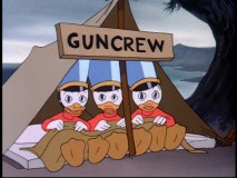 "Donald and his nephews play in ""The Old Army Game."""