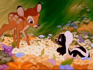 Donnie Dunagan's favorite line from the film comes in this scene in which Bambi meets the skunk he names Flower.