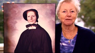 "Technical consultant Sister Margaret McEntee, the inspiration for Amy Adams' character Sr. James (her former name), holds up a photo of herself at age 21 in ""The Sisters of Charity."""