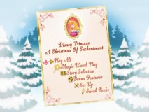 "The animated ""Disney Princess: A Christmas of Enchantment"" main menu rotates through half a dozen princesses."