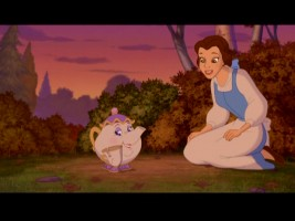 Belle serenades her pachyderm-resembling pottery friend in a music video that ineffectively promotes Disney Princess Enchanted Tales: Kingdom of Kindness.
