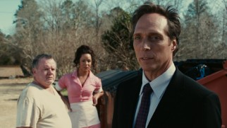Supposed FBI Agent The Accountant (William Fichtner) is on Milton's trail, beginning with an interrogation of these two Oklahoma diner employees (Jack McGee, Katy Mixon).