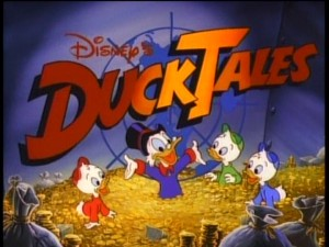 "The opening ""DuckTales"" title logo depicts Scrooge McDuck and nephews enjoying a swim in his money bin."