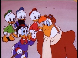 Scrooge tries to butter up his pilot Launchpad McQuack.
