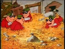 Thanks to Gyro's Furniture Mover, the Beagle Boys are up to their shoulders in Scrooge's gold.