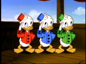 Huey, Dewey, and Louie are all decked out to match the 1930s feeling that's swept the Hindentanic.