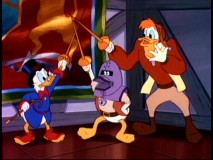 Scrooge, Launchpad, and the mysterious Duck in the Iron Mask and are all for one and... oh, you know the rest.