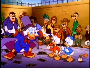 Scrooge's new overly generous persona has scared Louie out of this shot.
