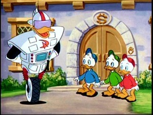 The boys are wowed by Gizmoduck, not knowing he's the same person they wanted to murder the day before.
