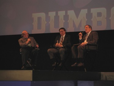 "From left to right: Eric Goldberg, Richard Sherman, and Miles Krueger discuss the history and importance of ""Dumbo."" (Click for a larger view.)"