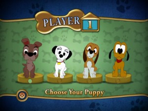 "Players choose one of these four Disney puppies to represent them in ""Disney DVD Game World: Disney Dogs Edition."""