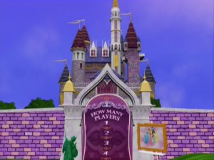 "This computer-animated castle is the setting for ""Disney DVD Game World: Disney Princess Edition."""
