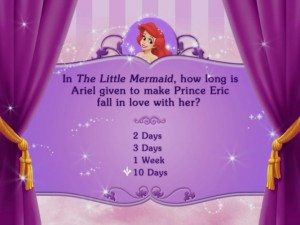 "This is the type of trivia you can expect, assuming you will be playing ""Disney DVD Game World: Disney Princess Edition."""