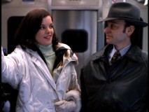 Chuck enjoys the company of mob boss wife Theresa Laparko (Pauley Perrette) on an exciting El Train ride.