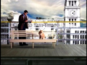 Gary and the cat are among the handful of characters who appear on the train platform in front of the Sun-Times building in the stylized Early Edition opening credits sequence.