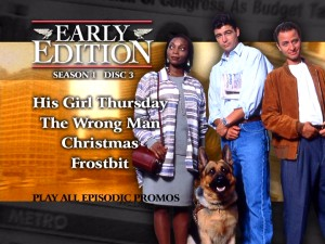 The foreground pictures and listings are all that vary on the static menus of each disc. Disc 3's main menu matches the number of episodes with characters in this nice promotional photo.