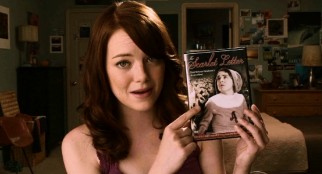 "In her webcast, protagonist Olive Penderghast (Emma Stone) holds up the DVD of the 1930s filming of ""The Scarlet Letter"", which she recommends over the Demi Moore version."