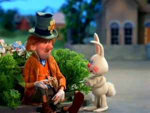 Sunny the Easter Bunny holds a meeting with friendly hobo Hallelujah H. Jones.