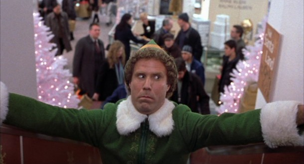 New to New York City, Buddy the Elf (Will Ferrell) summons all his bravery for a frightening trip up the Gimbels department store escalator.