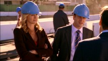 "Taylor and Eli don hardhats for a construction visit to developer Arvin Solinsky in ""Praying for Time."""