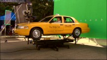"To shake up a cab, it's mechanics and green screen now, CGI later as seen in ""Creating Visions."""