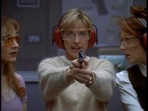 "Ellen's not very trigger happy in ""Guns 'N Ellen."""