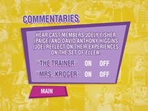 The commentaries menu