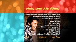 "This is one of thirty-four text screens on Elvis, his film career, and ""That's the Way It Is"" which are carried over from the 2001 Special Edition DVD."