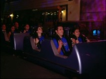 The Cadigan-Scott family rides Rock 'n Rollercoaster Starring Aerosmith at the Disney-MGM studios in Florida.