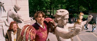 Three more residents of Andalasia scout out New York's Columbus Circle. They are, left to right: Nathaniel (Timothy Spall), Prince Edward (James Marsden) and, on statue arm, Pip the chipmunk.