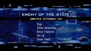 The animated Main Menu employs high-tech surveillance imagery.