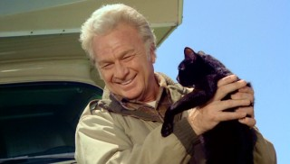 Eddie Albert shares a joyous moment with the kids' winking black cat Winky.