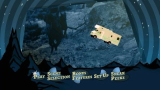 The famed Winnebago flies in front of scenes from the film on the animated main menu.