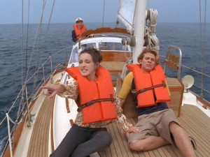 With Tom manning the ship, Tawny (Margo Harshman) and Twitty (A.J. Trauth) look for land.