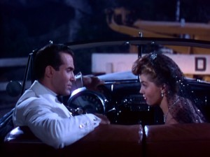 "The other couple of ""Neptune's Daughter"", the real Jose (Ricardo Montalban) and Betty's sister Eve (Esther Williams) have obstacles in the way of love, as evidenced by this nighttime drive."